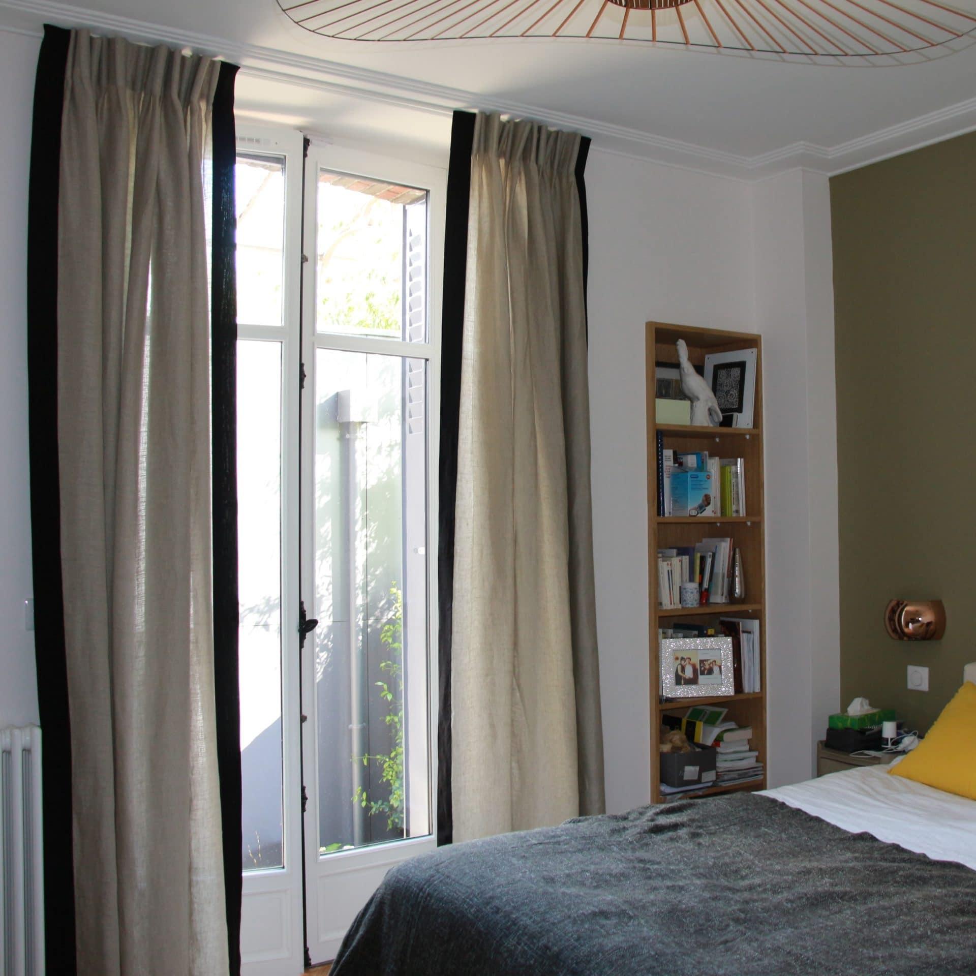 rideaux en lin plis simple sur mesure