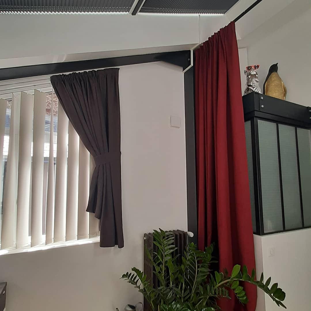 rideaux acoustiques occultant sur mesure mezzanine